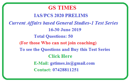 Objective Current Affairs Questions -MCQ (1-15 June, 2019) | GS TIMES